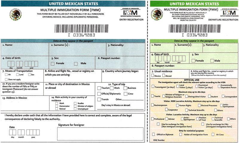 Иммиграционная форма-Мексика